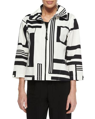 Graphic-Print Stretch Short Jacket, Women's