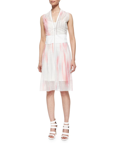 Elie Tahari Emma Zip-Front Perforated Dress