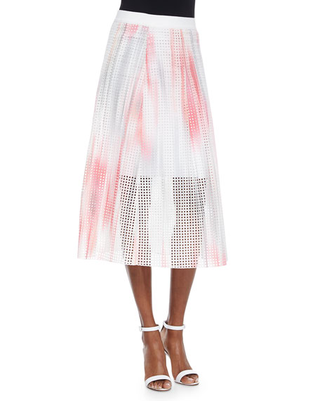 Elie Tahari Bloom Eyelet Circle Skirt, Pink/Multicolor