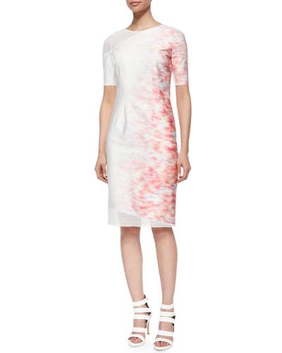 Emory Short-Sleeve Sheath Dress W/ Mesh Detail