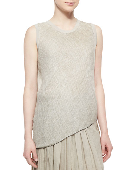 Tahari Woman Savannah Sleeveless Linen Blouse