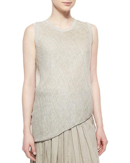 Tahari Woman Savannah Sleeveless Linen Blouse