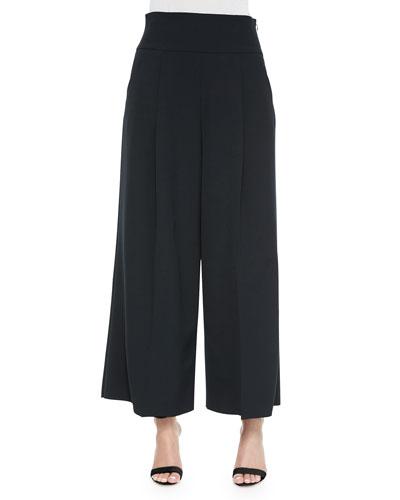 Italian Cady Stretch Wide-Leg Pants