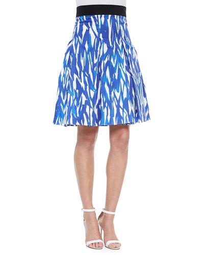 Brushstroke-Print Pleated Skirt, Blue/White