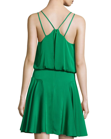 Crepe Racerback Dress, Emerald