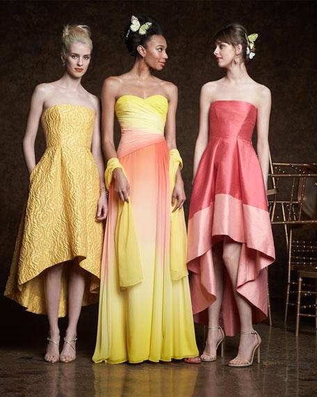 Strapless High-Low Cocktail Dress, Sun