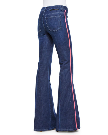 Flared Jeans W/ Contrast Piping, Blue
