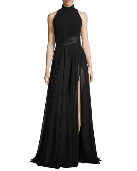 Cutaway-Back Chiffon Gown, Black