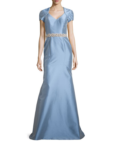 Satin Gown w/ Beaded Waist, Powder
