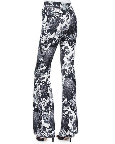 Floral-Print Boot-Cut Trousers