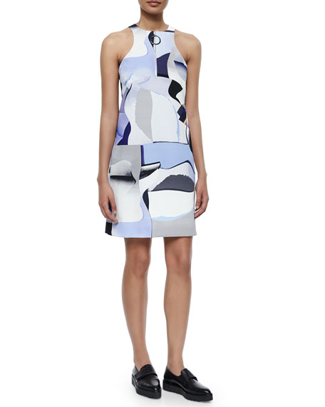 Kenzo Sleeveless Paper-Print Zip-Front Shift Dress