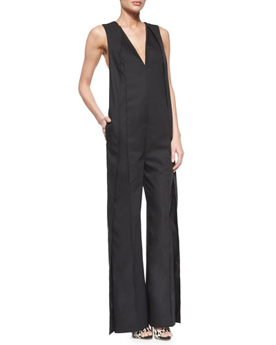 Sleeveless V-Neck Wide-Leg Jumpsuit
