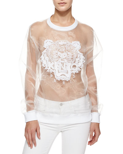 Long-Sleeve Organza Tiger Pullover