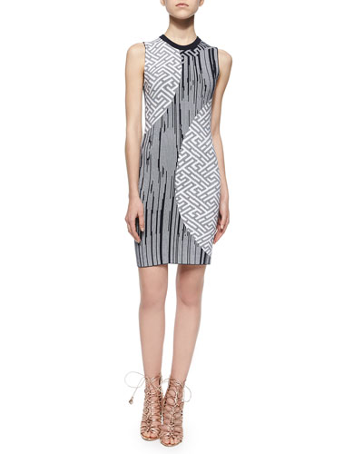 Mixed-Print Knit Sheath Dress