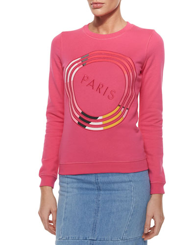 Paris Textured Sweatshirt, Fuchsia