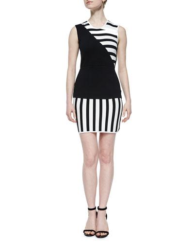 Sass Bide Asymmetric Striped Sheath Dress Black White Buy Ronna Heintzelman