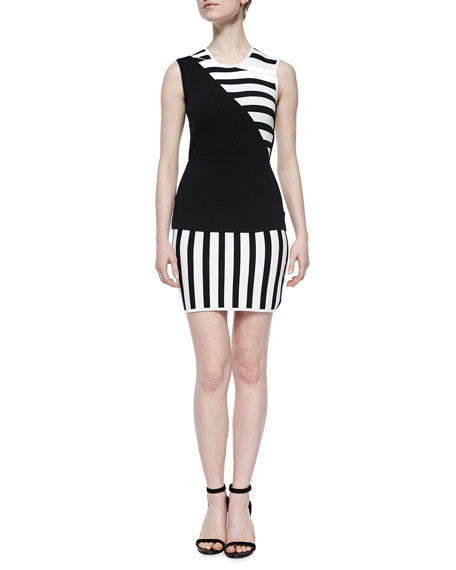 sass & bide Asymmetric Striped Sheath Dress, Black/White