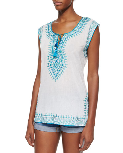 Turquesa Embroidered Cap-Sleeve Tunic