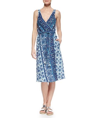 Ivara Printed Sleeveless Wrap Dress