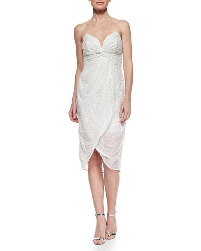 Twisted Strapless Metallic Dress