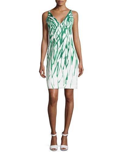 Liz Brushstroke Dress, Green/White