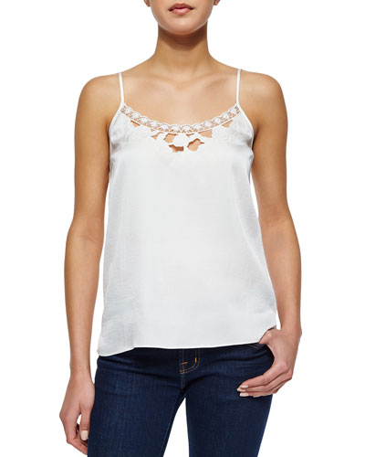 Laser-Cut Satin Camisole Top