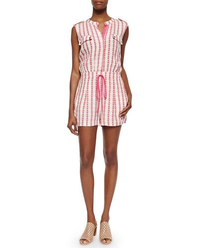 Print-Stripe Short Jumpsuit