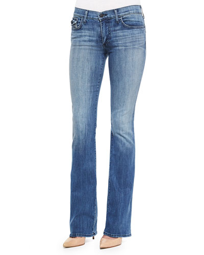 Becca Faded Boot-Cut Jeans, Earth