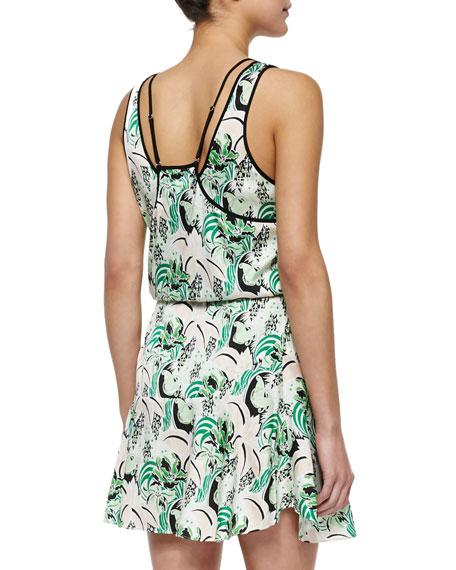 Veronica Beard Printed Drawstring Stretch-Silk Dress
