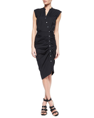 Ruched Asymmetric Cap-Sleeve Shirtdress, Black