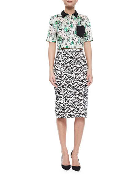 Animal-Print Pique Pencil Skirt