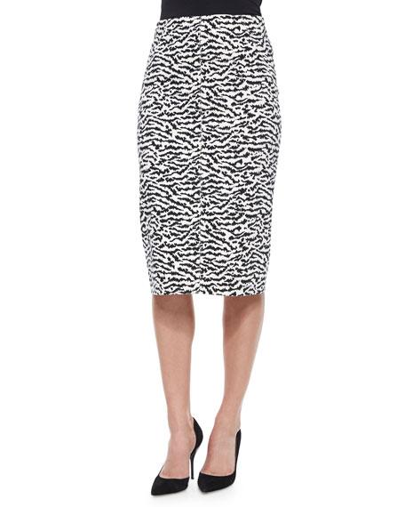 Veronica Beard Animal-Print Pique Pencil Skirt
