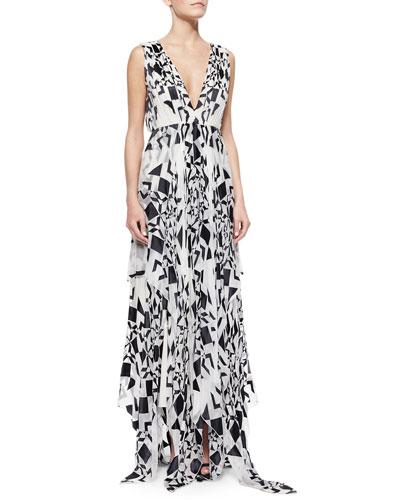 Esmay Printed V-Neck Maxi Dress