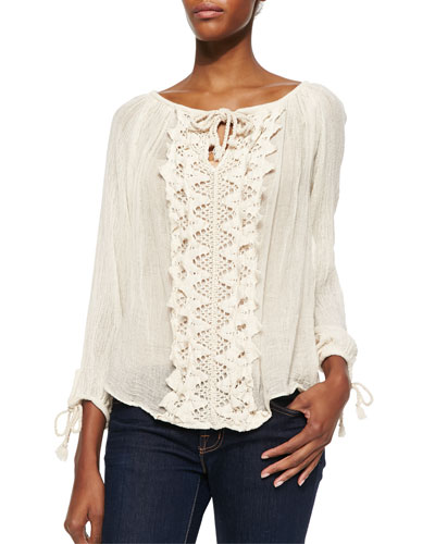 Big Sur Crochet-Panel Top