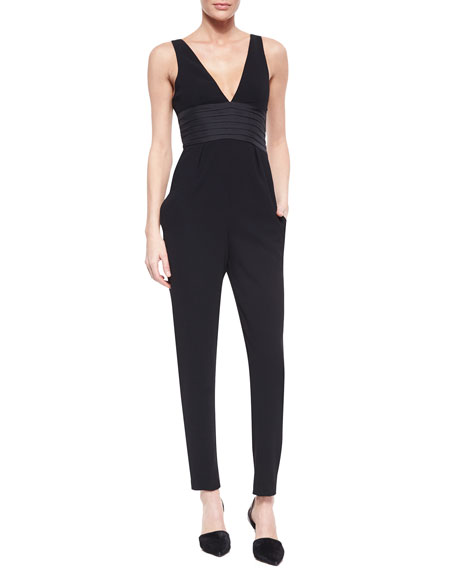 Sleeveless Woven Pintucked Jumpsuit