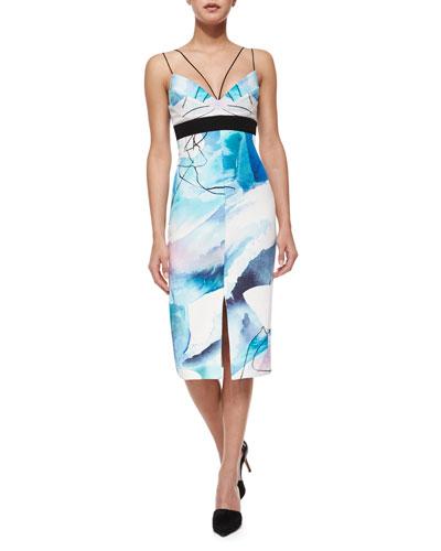 Silk Watercolor Midi Dress, Moonscape