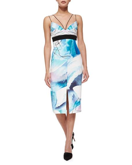 Nicholas Silk Watercolor Midi Dress, Moonscape
