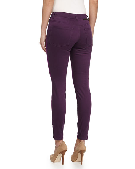 Colorblock Zipper-Cuff Skinny Jeans, Purple