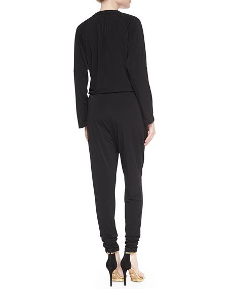 Long-Sleeve Drawstring-Waist Jumpsuit, Women's