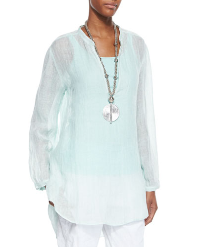 Long-Sleeve Split-Neck Tunic, Women