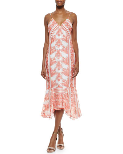 Farrah Floral-Print Maxi Dress, Red Pepper