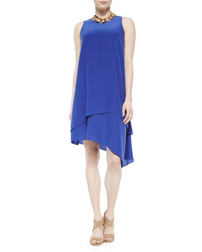 Double-Layer Silk Dress, Adriatic, Women