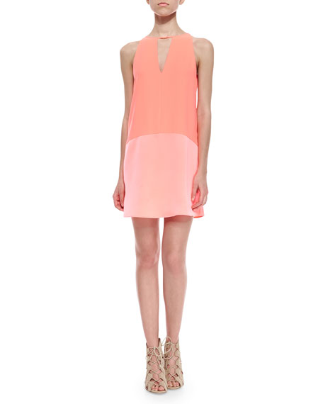 Parker Crosby Two-Tone Crepe Dress