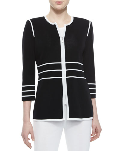 3/4-Sleeve Zip Jacket with Piping, Petite