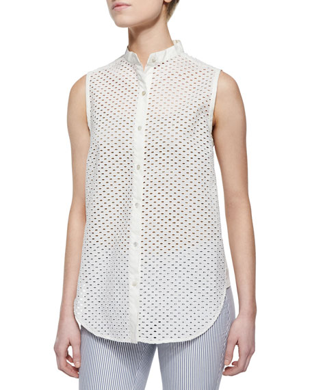 Marissa Webb Frida Mini-Eyelet Sleeveless Blouse
