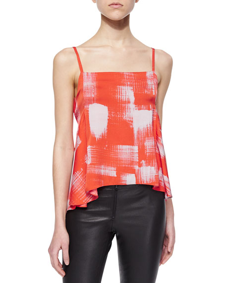 Marissa Webb Ros Printed Arched-Hem Top