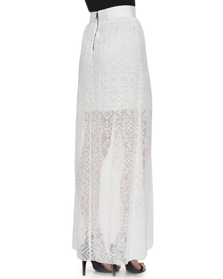 Maibella Embroidered Ruffled Maxi Skirt