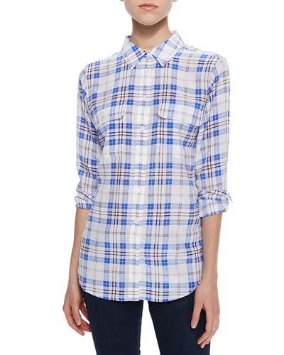 Plaid Slim Silk Blouse, Bright White Multi