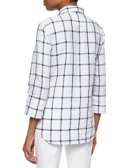3/4-Sleeve Grid-Striped Shirt