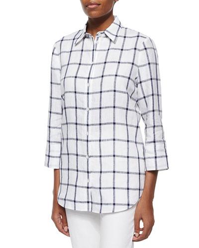 3/4-Sleeve Grid-Striped Shirt